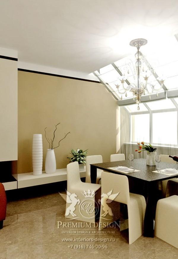 Дизайн столовой в коричнево-бежевых тонах