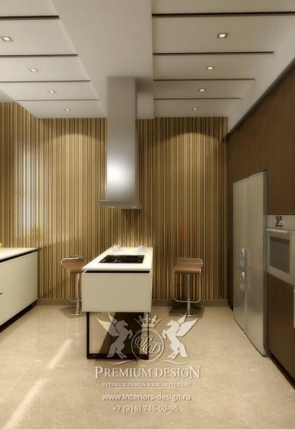 Дизайн кухни-столовой в коричнево-бежевых тонах