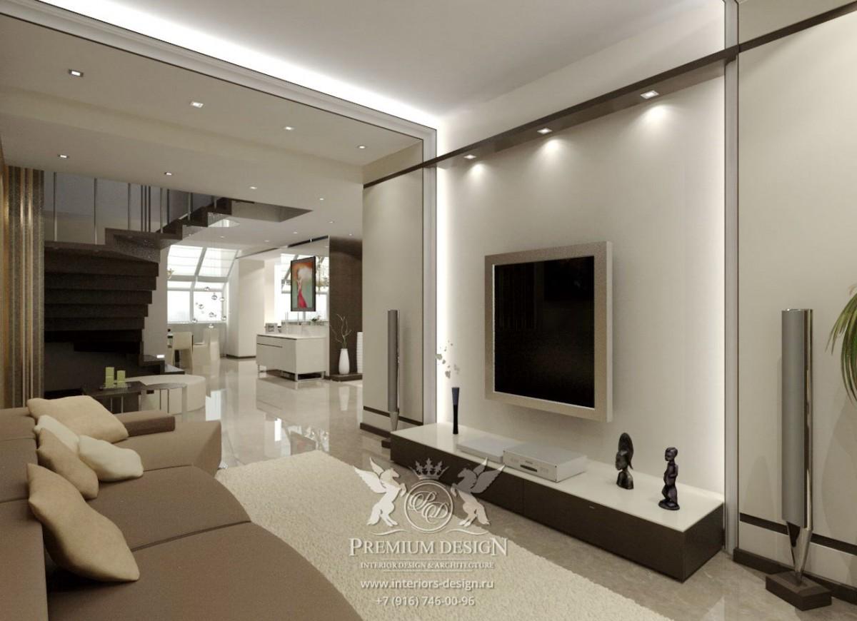Дизайн гостиной в коричнево-бежевых тонах