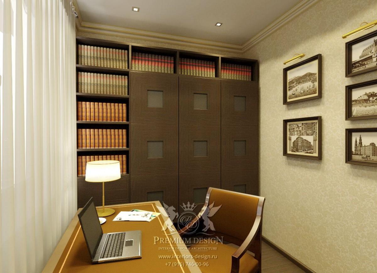 Дизайн кабинета в коричнево-бежевых тонах