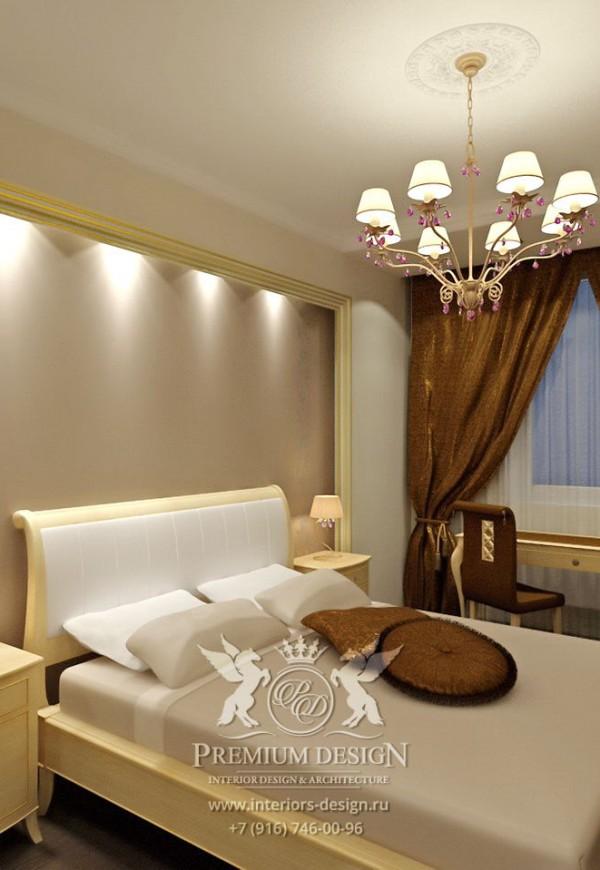 Дизайн спальни в коричнево-бежевых тонах