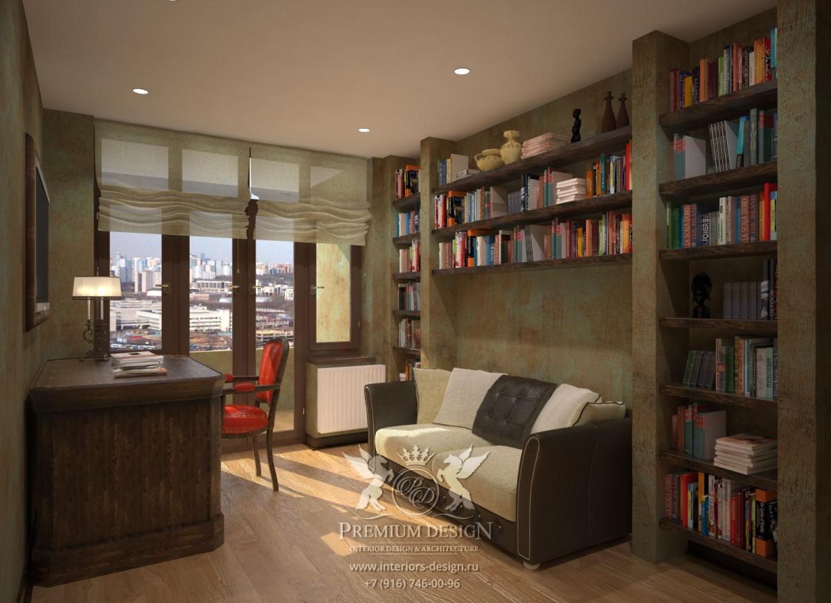 Дизайн кабинета в коричневых тонах