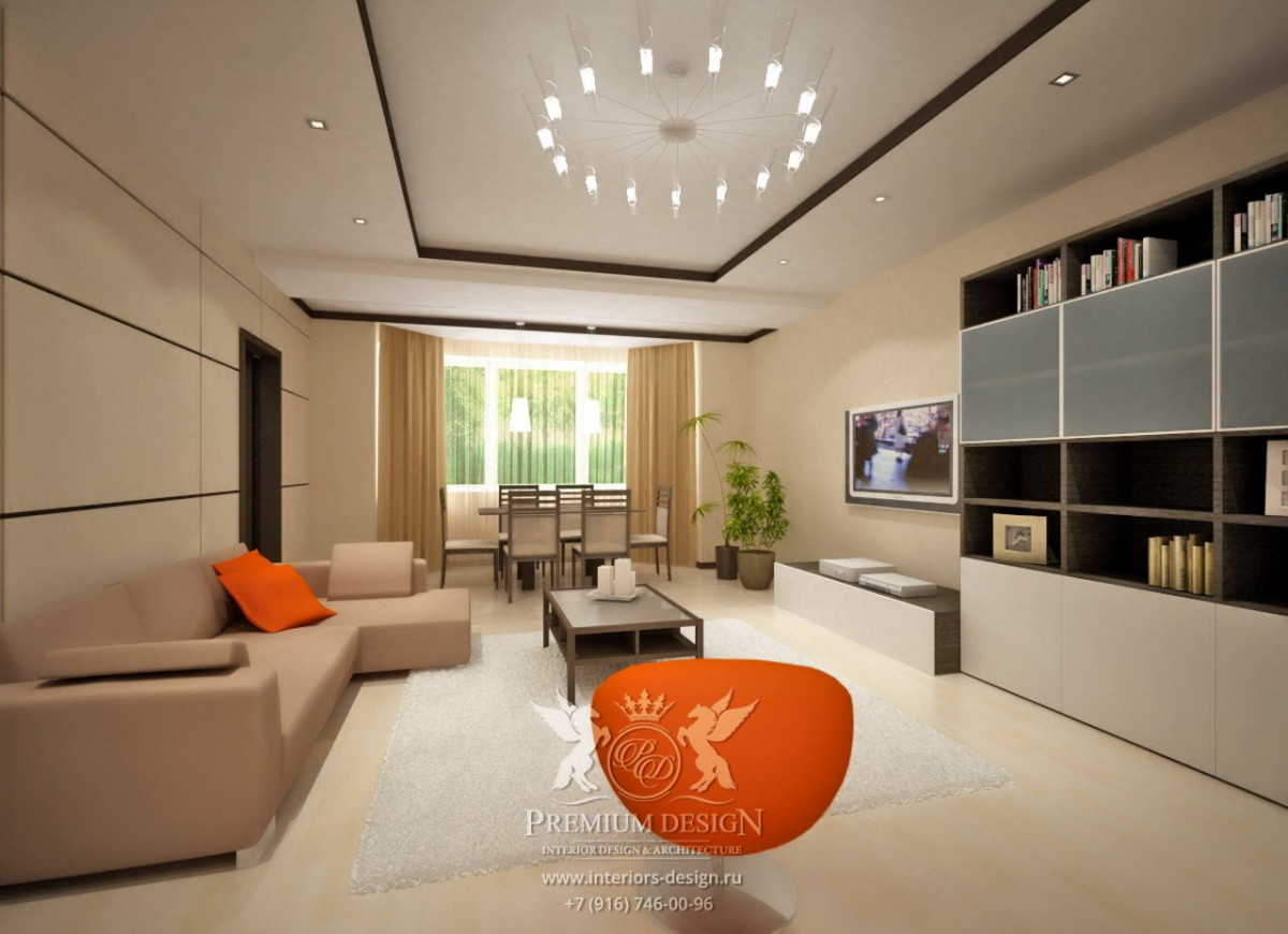 Дизайн бежевой гостиной