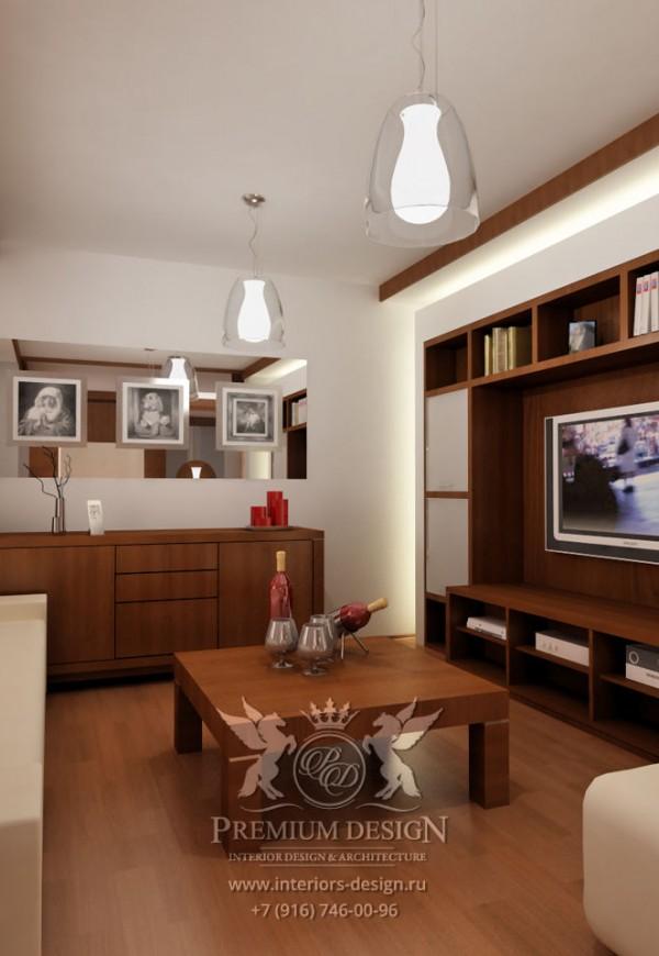 Дизайн гостиной в коричневых тонах