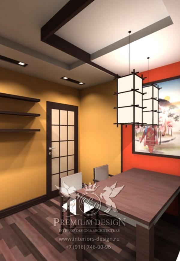 Дизайн кухни-столовой японский стиль фото