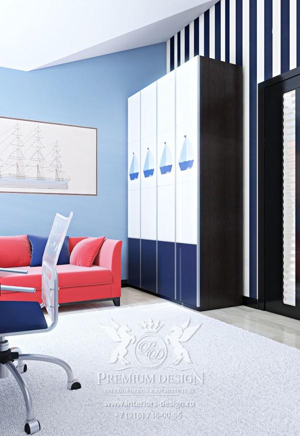 Дизайн детской в голубых тонах