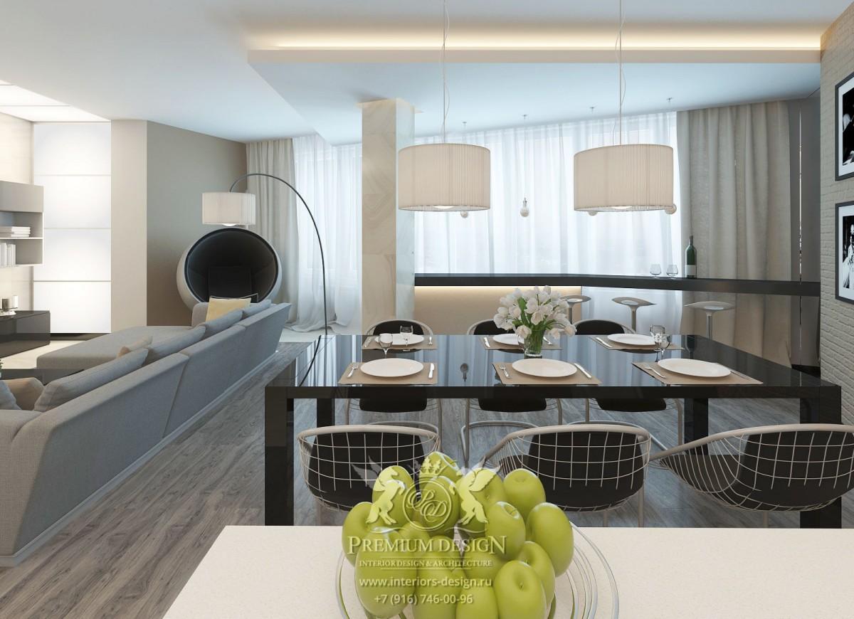 Дизайн современной гостиной-столовой