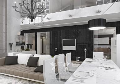 Гостиная совмещенная со столовой. Фото интерьера