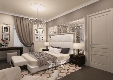 Дизайн загородного дома. Спальня.
